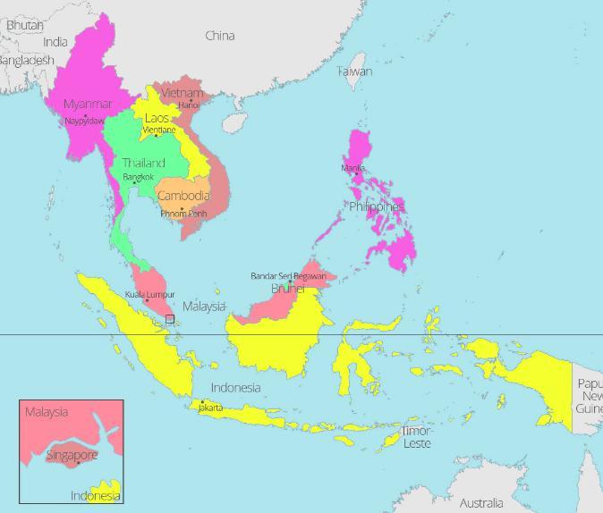 sebutkan batas wilayah asean berdasarkan letak geografisnya