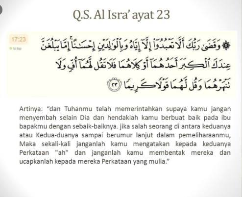 ayat al-Quran yang memerintahkan kita untuk berbakti kepada kedua orang tua kita adalah