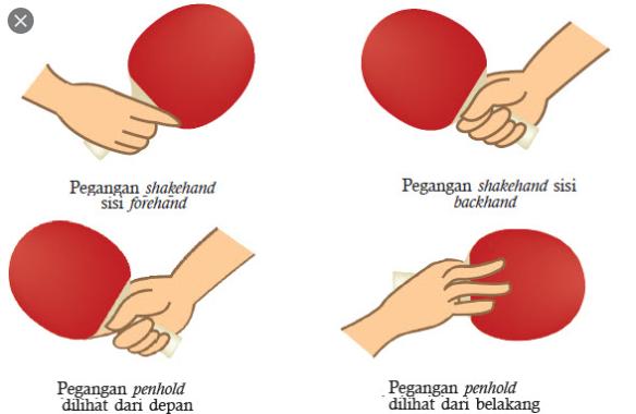 Jelaskan cara pegang shankehand dan penholder pada pemain tenis meja