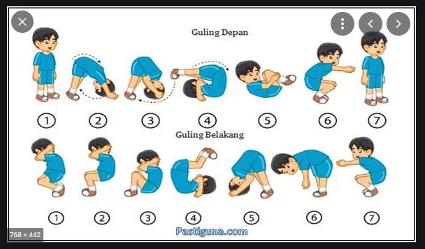 membungkuk ke depan siku ditekuk hingga menyentuh matras lalu menggulingkan badan adalah
