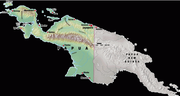Disebelah timur, indonesia berbatasan daratan dengan negara