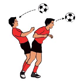 Arah gerakan pinggang yang benar saat melakukan teknik dasar menyundul bola  adalah